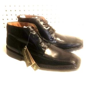 TANSMITH BLACK LEATHER HAND CRAFTED LUXURY SHOE